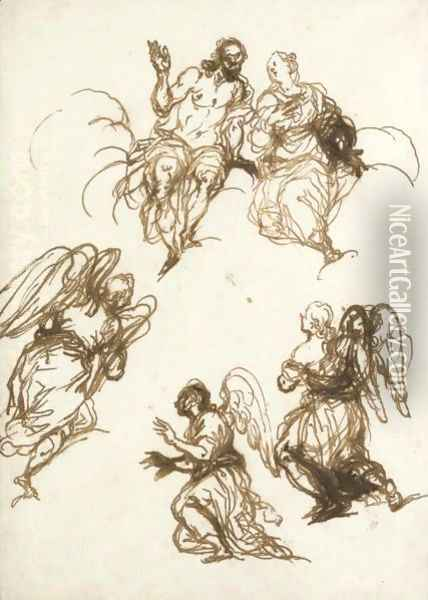 Sheet Of Figure Studies Christ And The Virgin And Three Angels Oil Painting - Alessandro Maganza