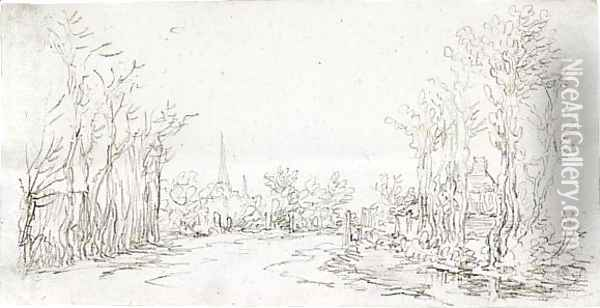 View Of A Road Entering A Village, With A Church Spire In The Background Oil Painting - Jan van Goyen