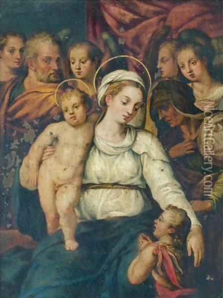 Holy Family With Saint Elizabeth And The Infant Saint John The Baptist And Various Angels Oil Painting - Lavinia Fontana
