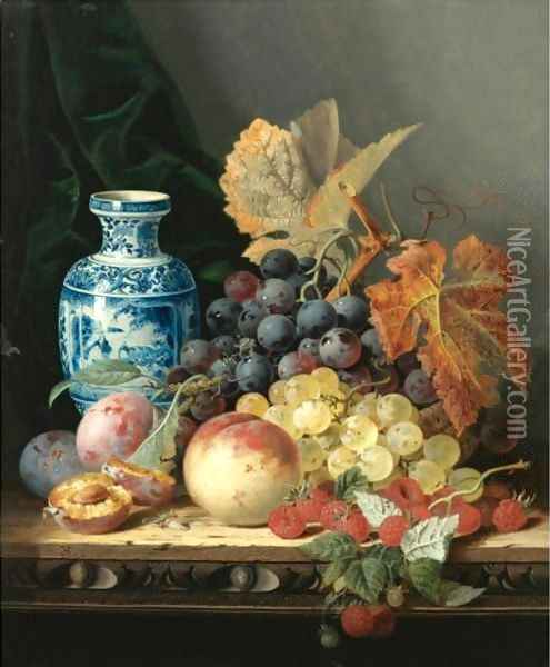 Still Life With A Chinese Vase, Grapes, Plums, Raspberries And A Peach On A Carved Wooden Tabletop Oil Painting - Edward Ladell