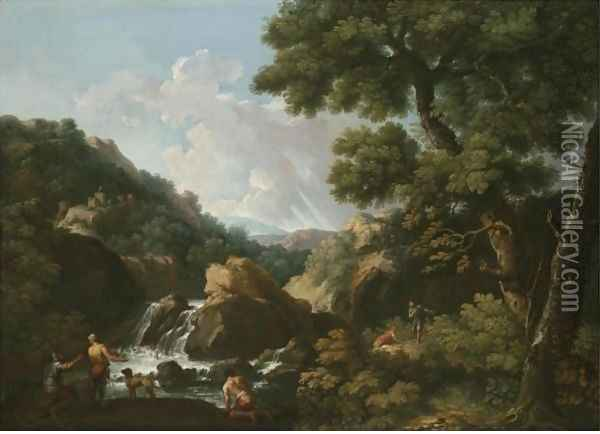 A Wooded River Landscape With Fishermen Oil Painting - Andrea Locatelli