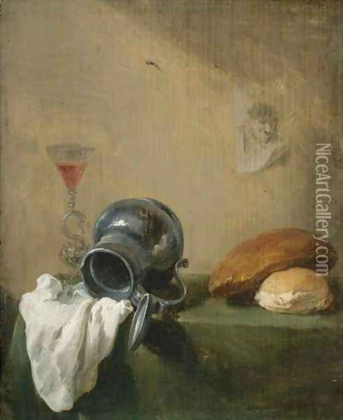 Still Life Of An Overturned Jug Oil Painting - David The Younger Teniers