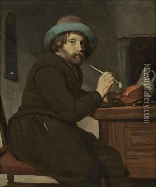 A Smoker Seated At A Table Oil Painting - Gabriel Metsu