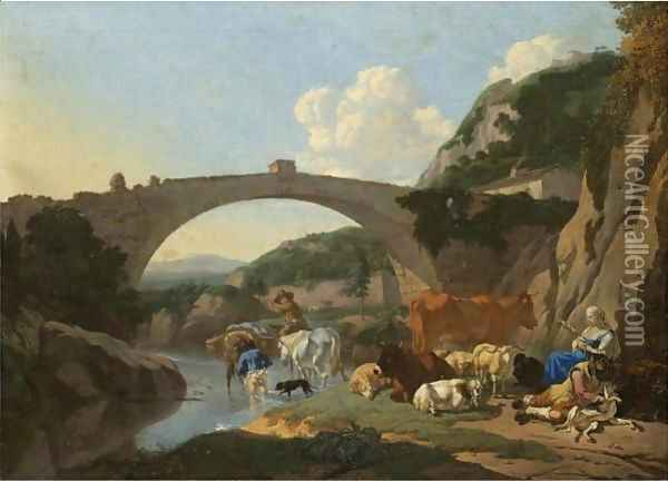 Italianate Landscape With Herders And Animals Resting By A River Under A Bridge Oil Painting - Karel Dujardin