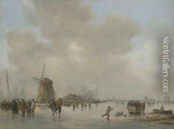 Winter Landscape With Skaters And Golfers On A Frozen River Near A Windmill Oil Painting - Jan van Goyen
