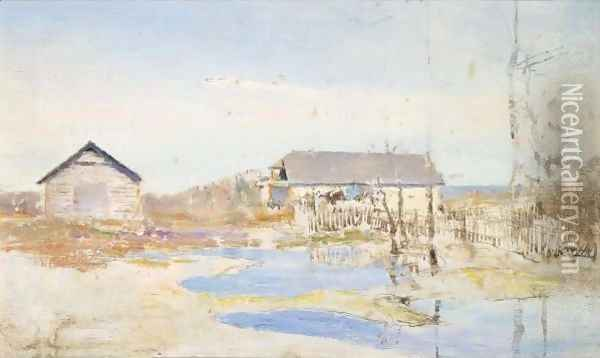 Landscape With Houses Oil Painting - Ivan Pavlovich Pokhitonov