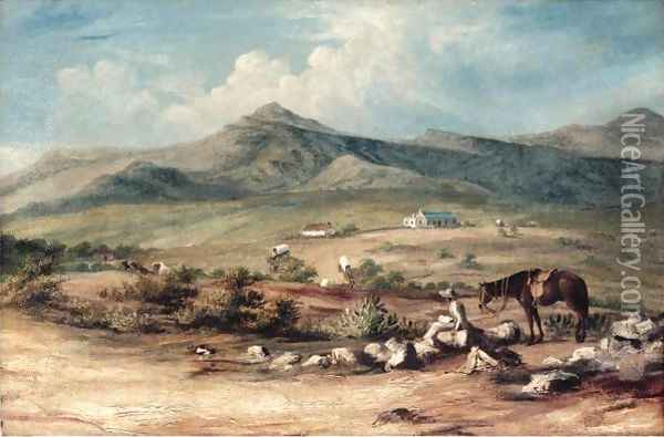 The Artist And His Mount Overlooking A Valley In The Eastern Cape, With A Wagon Train Passing A Farm Below Oil Painting - Thomas Baines