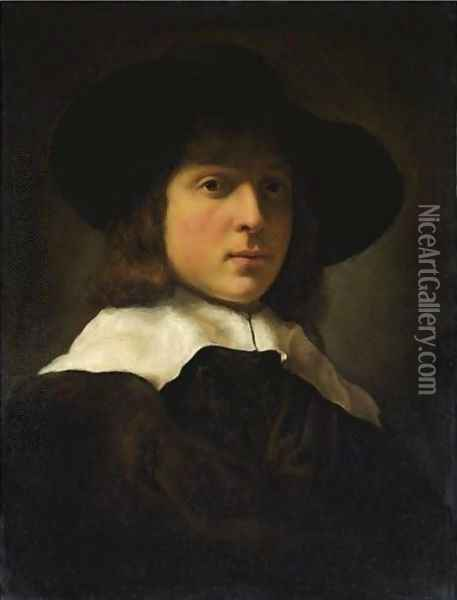 A Portrait Of A Young Man Wearing A Hat And White Ruff Oil Painting - Govert Teunisz. Flinck
