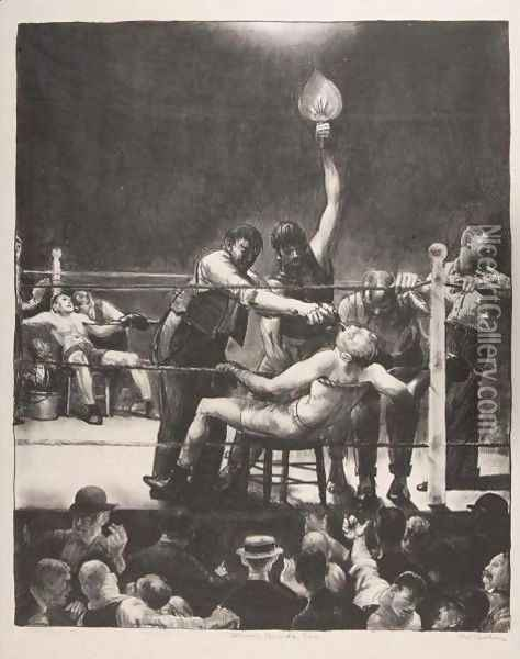 Between Rounds, Small, Second Stone Oil Painting - George Wesley Bellows