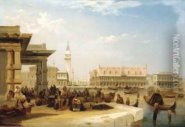 The Doge's Palace, From The Dogana, Venice Oil Painting - Edward Pritchett