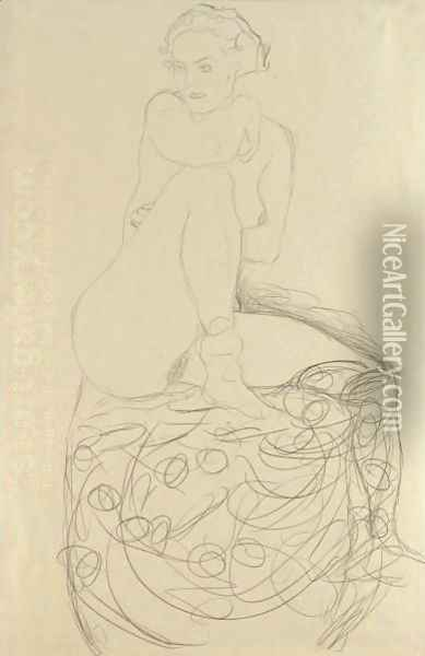 Mit Aufgestelltem Rechten Bein Sitzender Akt (Seated Nude With Raised Right Leg) Oil Painting - Gustav Klimt