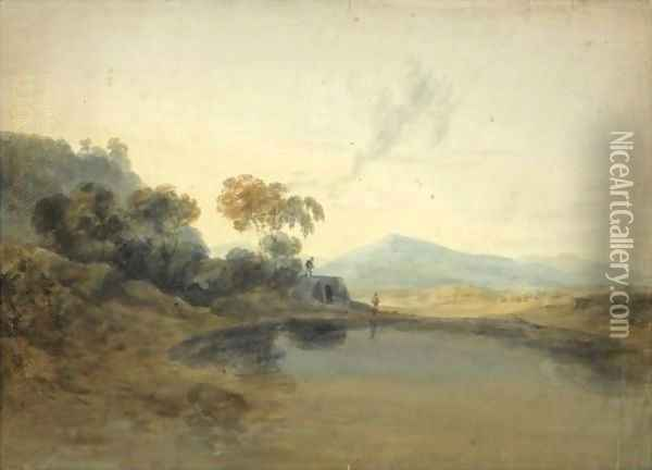 Open Landscape With A Kiln And Mountains Beyond Oil Painting - Joseph Mallord William Turner