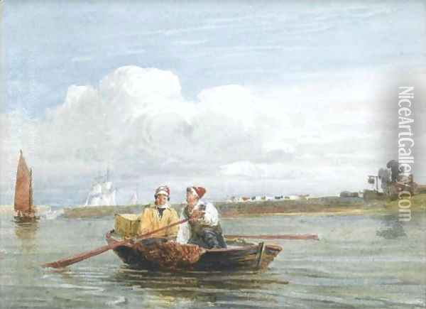 Peter Boat Near Half Way House At Gravesend Oil Painting - David Cox
