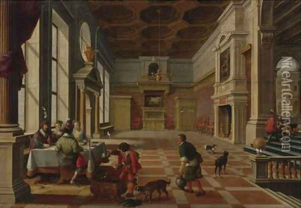 Interior Of A Palace With Elegant Figures Dining (Parable Of Lazarus And The Rich Man) Oil Painting - Bartholomeus Van Bassen
