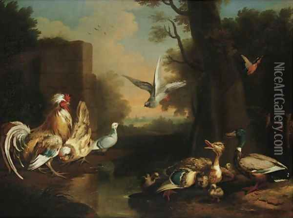 A Rooster, Hen, Ducks And Other Birds In A Landscape Oil Painting - Pieter Casteels