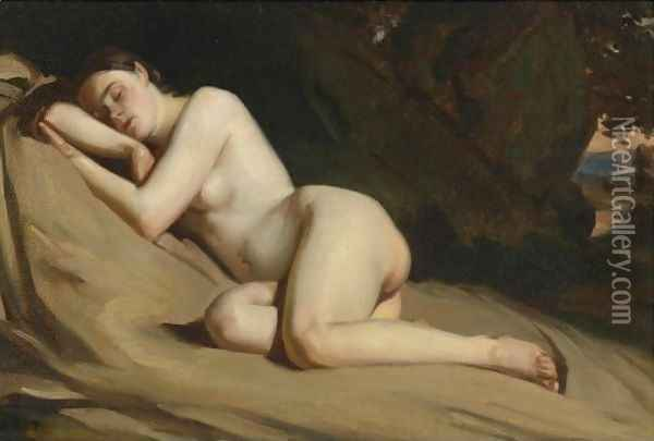 Reclining Female Nude In A Landscape Oil Painting - William Etty