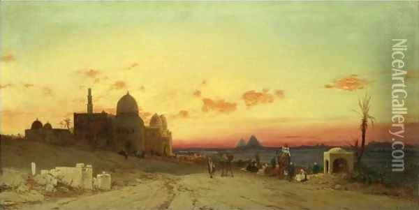 A View Of The Tomb Of The Caliphs With The Pyramids Of Giza Beyond, Cairo Oil Painting - Hermann David Solomon Corrodi