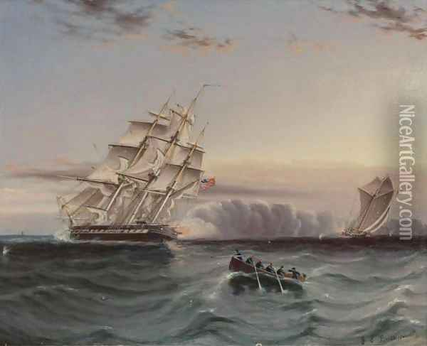 Us Frigate And Privateer Oil Painting - James E. Buttersworth