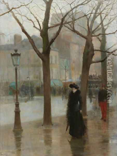 Paris Street In Winter Oil Painting - Paul Cornoyer