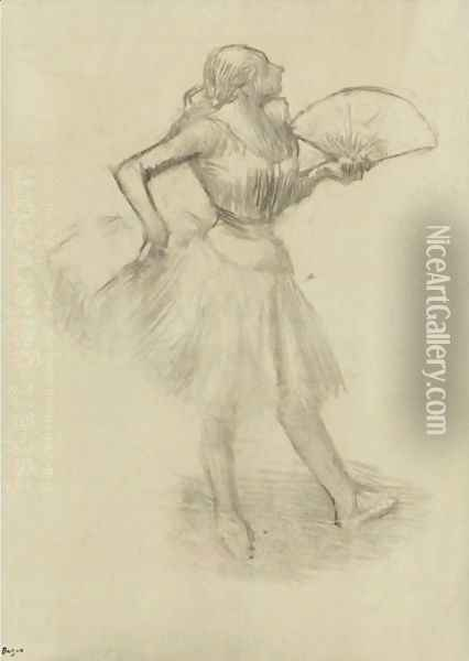 Danseuse A L'eventail 3 Oil Painting - Edgar Degas