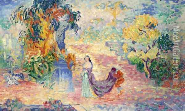 La Dame Au Parc Oil Painting - Henri Edmond Cross