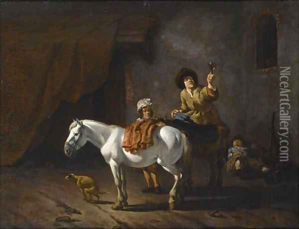 Two Horsemen With Their Horses And A Dog Near A Stable, Another Horseman Sleeping In The Background Oil Painting - Karel Dujardin