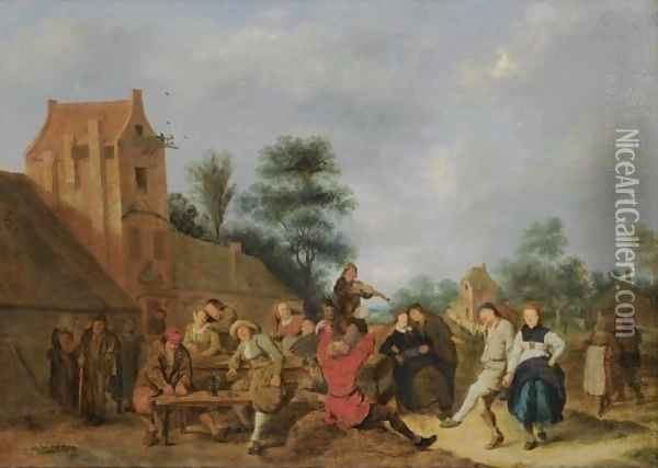A Merry Company Outside An Inn Oil Painting - Jan Miense Molenaer