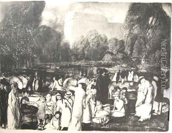 In The Park, Light Oil Painting - George Wesley Bellows