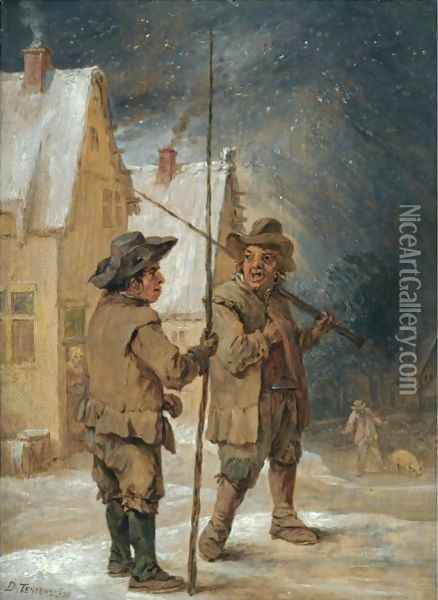 A Winter Scene With Two Chimneysweeps Conversing Before Some Cottages Oil Painting - David The Younger Teniers