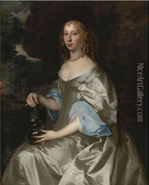 Portrait Of A Lady, Half-Length, Wearing A Grey Satin Gown Oil Painting - Jacob Huysmans