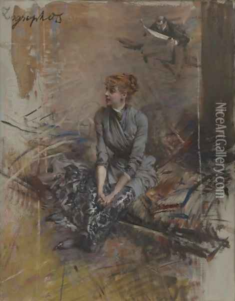 Portrait Of Madame Gabrielle Rejane Oil Painting - Giovanni Boldini