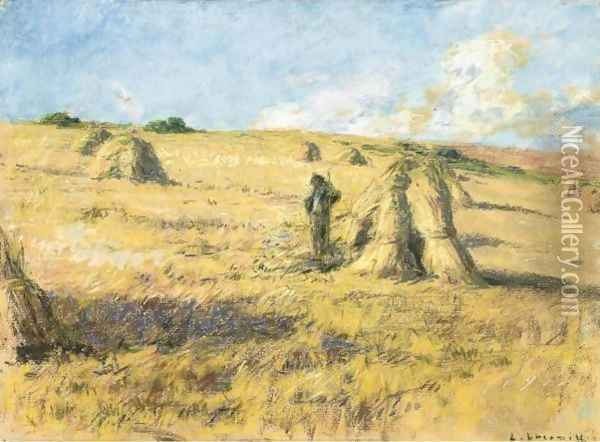 Among The Haystacks Oil Painting - Leon Augustin Lhermitte