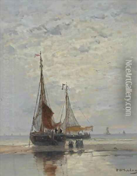 Bringing In The Catch Oil Painting - Hendrik Willem Mesdag