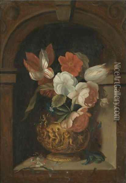 A Still Life Of Tulips, Roses, Morning Glory And Other Flowers In A Sculpted Bronze Vase In A Niche Oil Painting - Ambrosius the Elder Bosschaert