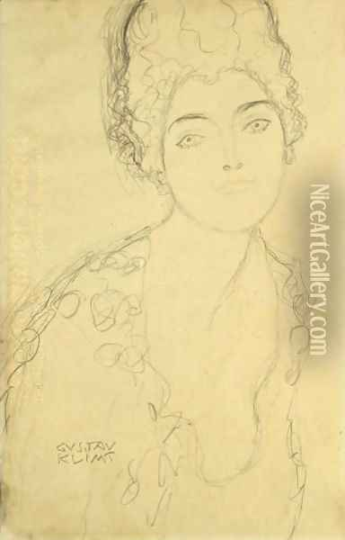 Bust Of A Lady, Frontal View Oil Painting - Gustav Klimt