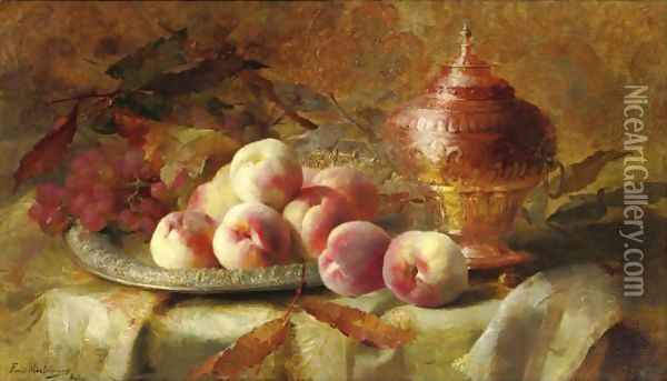 Still Life With Peaches And Tea Urn Oil Painting - Frans Mortelmans
