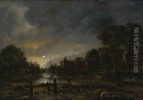 Moonlit River Landscape With Cottages On The Wooded Banks Oil Painting - Aert van der Neer