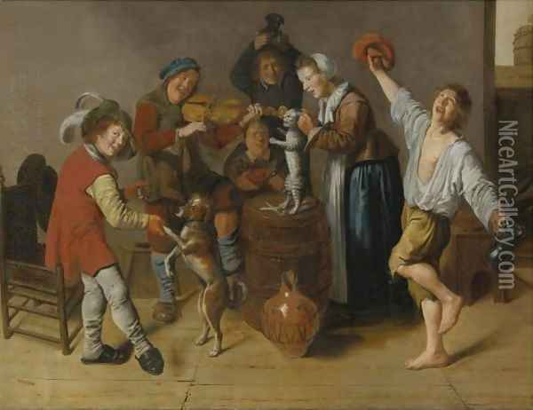 Children Playing And Merrymaking Oil Painting - Jan Miense Molenaer