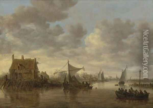 The Oude Wachthuis On The Kil Near Dordrecht With Small Ships And A Ferry Oil Painting - Jan van Goyen