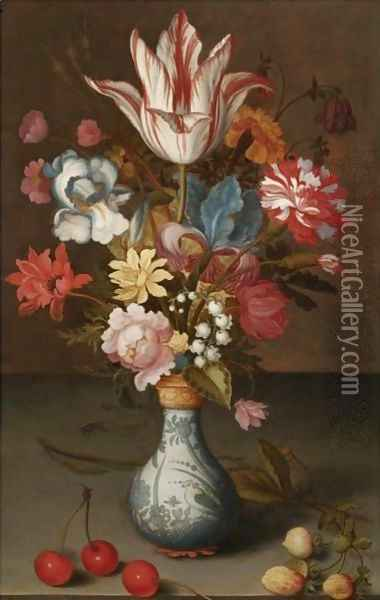 Still Life Of A 'Semper Augustus' Tulip, Irises, A Carnation And Other Flowers In A Wan-Li Vase Oil Painting - Balthasar Van Der Ast