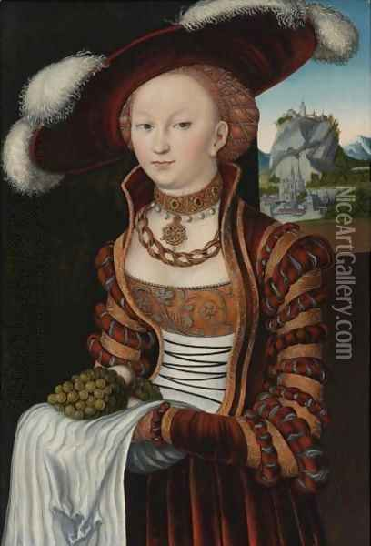 Portrait Of A Young Lady Holding Grapes And Apples Oil Painting - Lucas The Elder Cranach