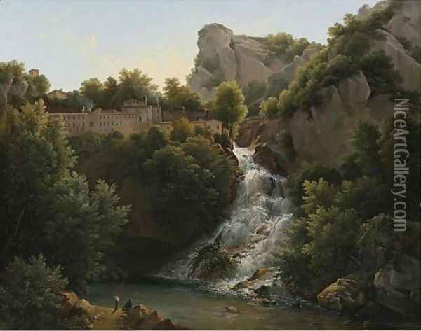 A Landscape With A Waterfall, A Mountain Village At The Edge Of The Cliff Oil Painting - Augustin Marius Paul Bec (Polydore De Bec)
