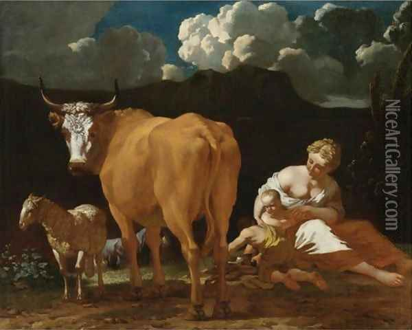 Italianate Landscape With A Woman, Two Children, A Bull, Sheep And A Dog Oil Painting - Karel Dujardin