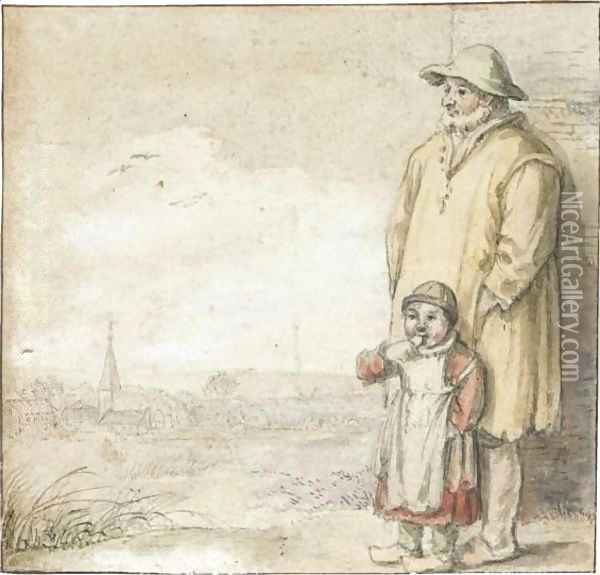 A Man And An Eating Child In A Landscape, A Village To The Left Oil Painting - Hendrick Avercamp