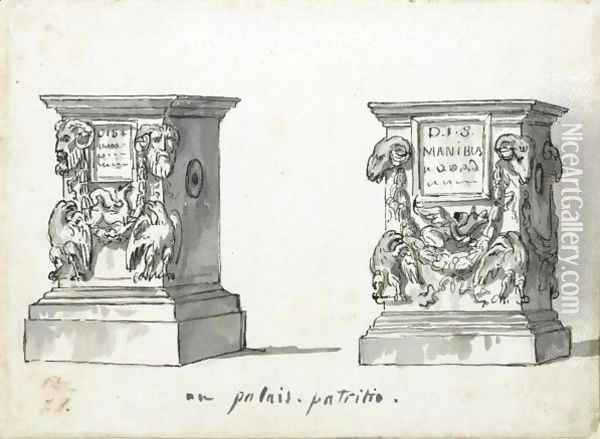 Two Roman Altars With The Epitaphs D.I.S Manibus Oil Painting - Jacques Louis David