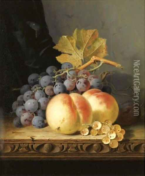 Still Life With Peaches, Grapes And Whitecurrants Oil Painting - Edward Ladell