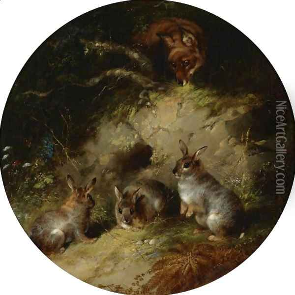 A Fox Stalking Three Rabbits Oil Painting - George Armfield