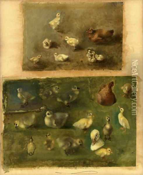 Hens Chicks And Ducklings Oil Painting - Rosa Bonheur