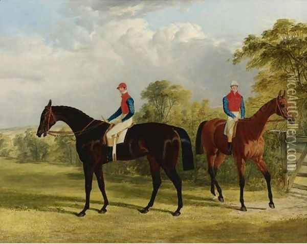 The Earl Of Chesterfield's Industry With W. Scott Up And Caroline Elvina With J. Holmes Up In A Paddock Oil Painting - John Frederick Herring Snr