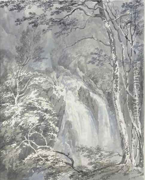 A Waterfall In A Wooded Landscape Oil Painting - Joseph Mallord William Turner